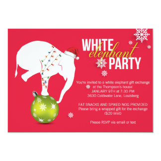 white elephant christmas party invitations & announcements | zazzle, Party invitations
