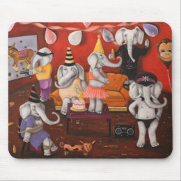White Elephant Party Mouse Pad