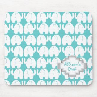 White Elephant Pattern Mouse Pad