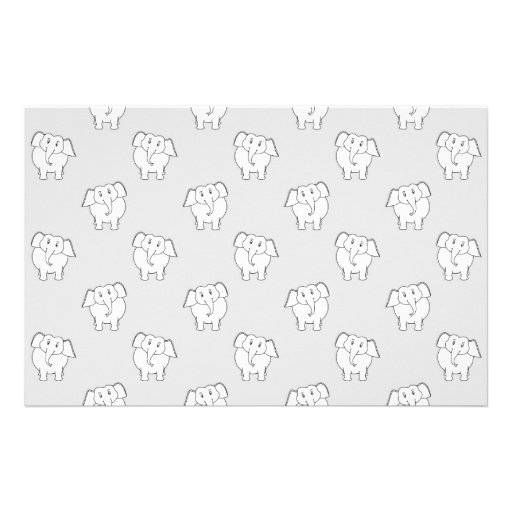 White Elephant Pattern on Gray. Stationery