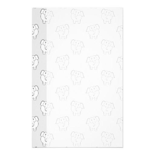 White Elephant Pattern on Gray. Personalized Stationery