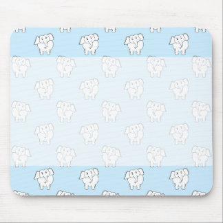 White Elephant Pattern on Pale Blue. Mouse Pad