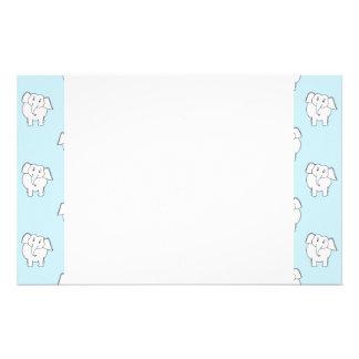 White Elephant Pattern on Pale Blue. Stationery