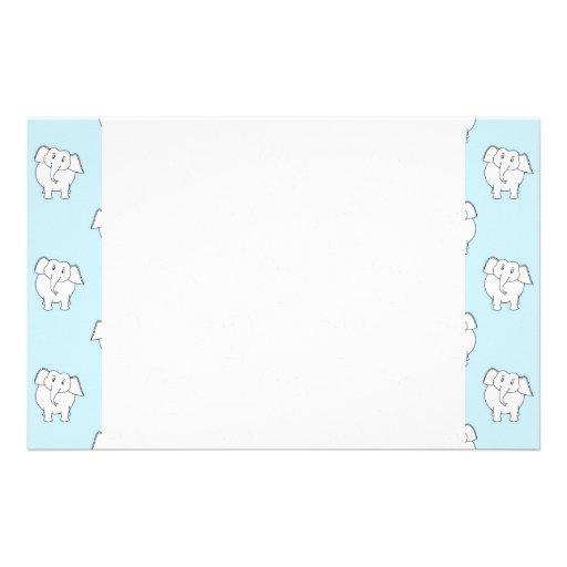 White Elephant Pattern on Pale Blue. Customized Stationery