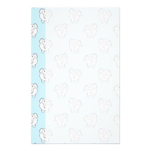 White Elephant Pattern on Pale Blue. Stationery Paper