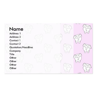 White Elephant Pattern on Pink. Business Card Template