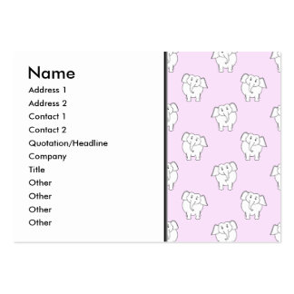 White Elephant Pattern on Pink. Business Card