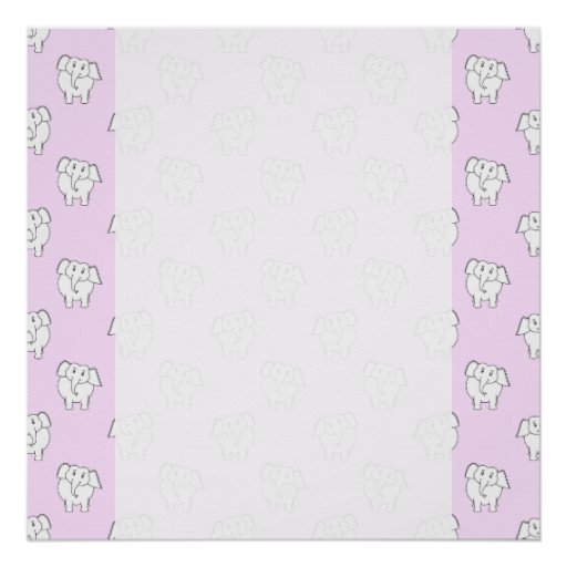 White Elephant Pattern on Pink. Poster