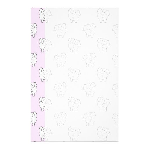 White Elephant Pattern on Pink. Custom Stationery