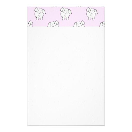 White Elephant Pattern on Pink. Stationery Paper