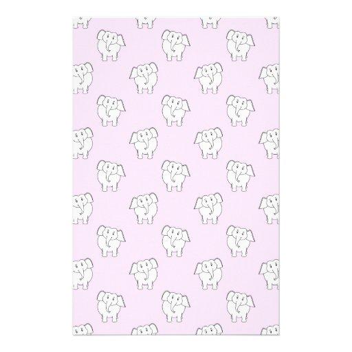 White Elephant Pattern on Pink. Stationery
