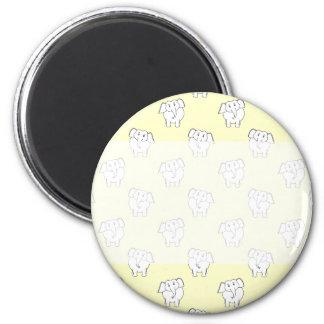 White Elephant Pattern on Yellow. 2 Inch Round Magnet