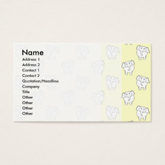 White Elephant Pattern on Yellow. Business Card