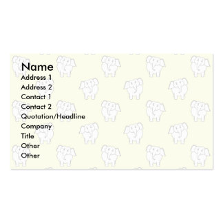 White Elephant Pattern on Yellow. Business Cards
