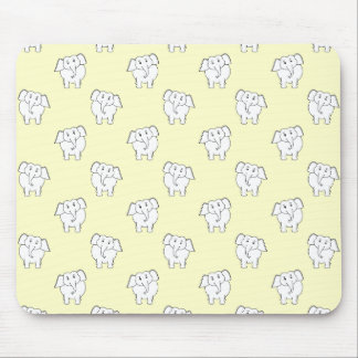 White Elephant Pattern on Yellow. Mouse Pad