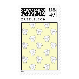 White Elephant Pattern on Yellow. Stamp