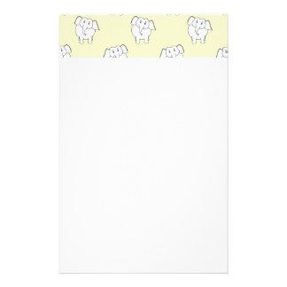 White Elephant Pattern on Yellow. Stationery