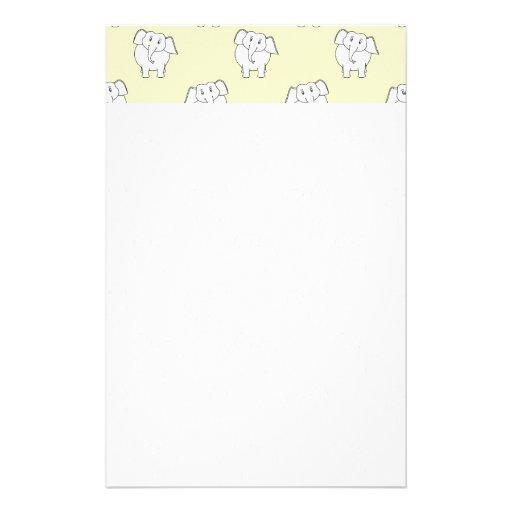 White Elephant Pattern on Yellow. Customized Stationery