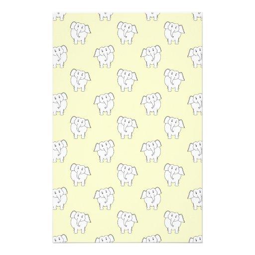 White Elephant Pattern on Yellow. Stationery Design