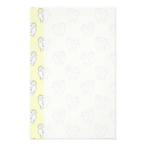 White Elephant Pattern on Yellow. Personalized Stationery