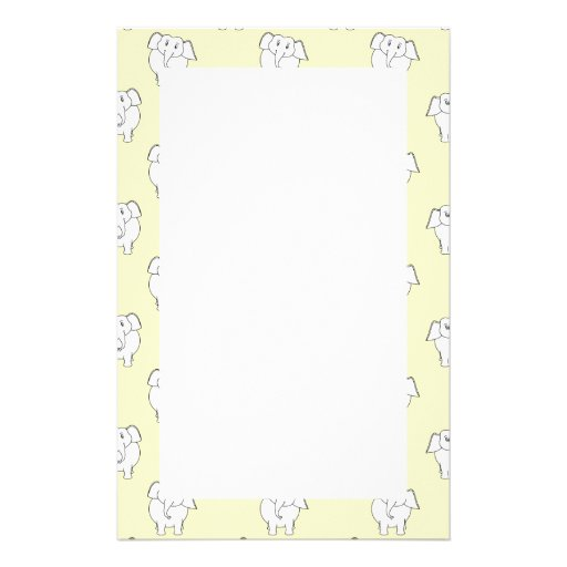 White Elephant Pattern on Yellow. Stationery Paper