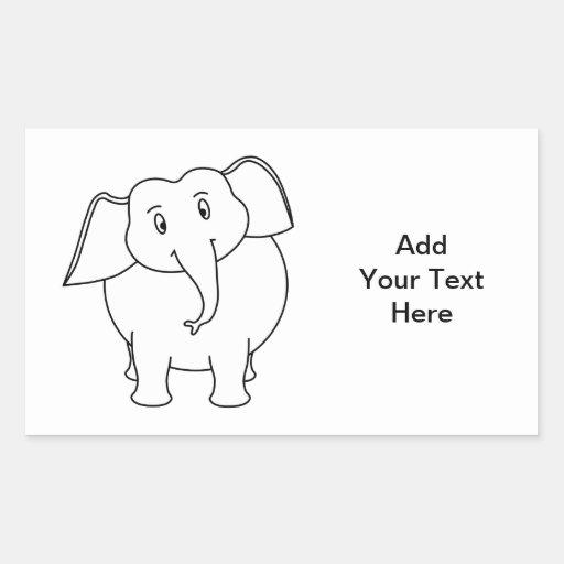 White Elephant. Rectangular Sticker