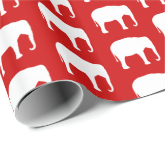 White Elephant Silhouettes Pattern Wrapping Paper