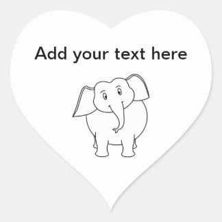 White Elephant. Heart Sticker