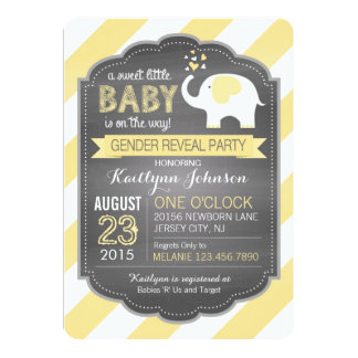 White Elephant Stripe Gender Reveal Baby Shower Card