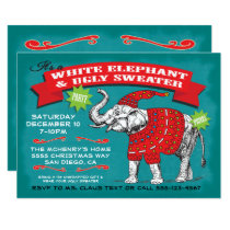 White Elephant Ugly Sweater Party Invitation