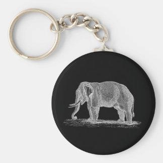 White Elephant Vintage 1800s Illustration Basic Round Button Keychain