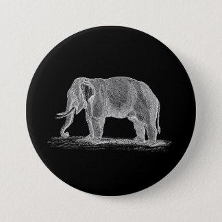 White Elephant Vintage 1800s Illustration Button