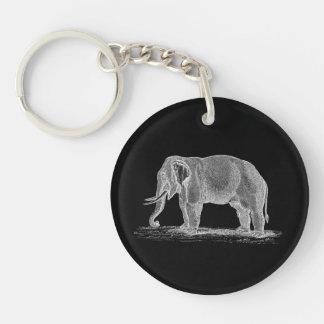 White Elephant Vintage 1800s Illustration Double-Sided Round Acrylic Keychain