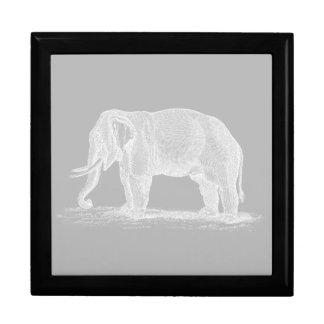 White Elephant Vintage 1800s Illustration Jewelry Box