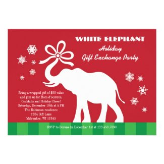 White Elephant with Bow Gift Exchange Party Announcement