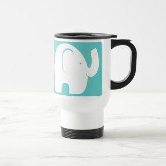 White Elephants over Aqua 15 Oz Stainless Steel Travel Mug