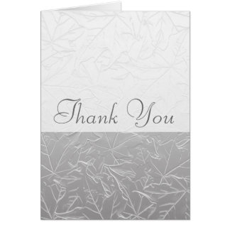 White Embossed Autumn Maple Leaves Card