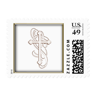 White embossed cross with swirls postage