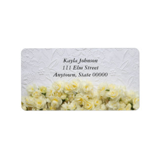 white embossed-look with narcissus address labels