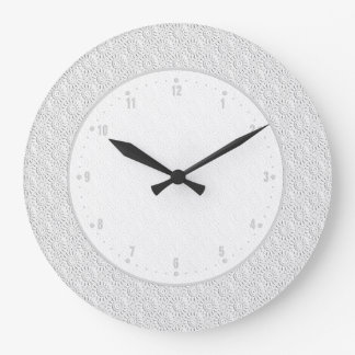 White Embossed Ornate Circles Seamless Pattern Large Clock