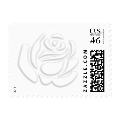White Embossed Rose Postage