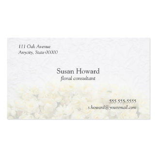 white embossed with narcissus fade business card