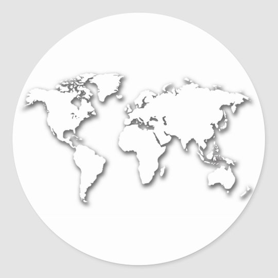 White Embossed World Map Classic Round Sticker