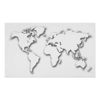 White Embossed World Map Poster