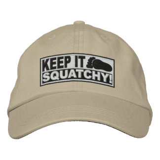 White *EMBROIDERED* Keep It Squatchy! - Bobo's Baseball Cap
