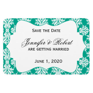 White Emerald Green Damask Wedding Save the Date Magnet