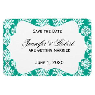 White Emerald Green Damask Wedding Save the Date Rectangular Photo Magnet