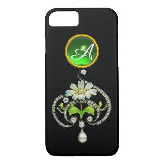 WHITE ENAMEL FLOWER, PEARLS AND DIAMONDS MONOGRAM iPhone 8/7 CASE