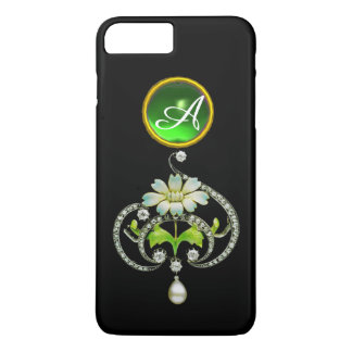 WHITE ENAMEL FLOWER, PEARLS AND DIAMONDS MONOGRAM iPhone 8 PLUS/7 PLUS CASE