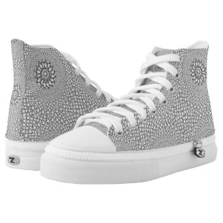 White Encrusted Diamonds Geometric Design Printed Shoes